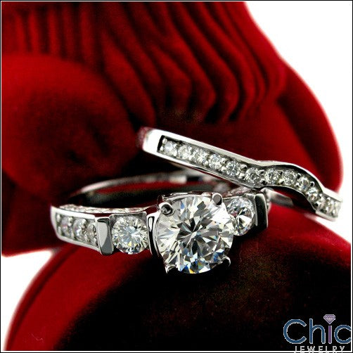 Engagement 1.25 Round Center Channel Ct Pave Cubic Zirconia Cz Ring
