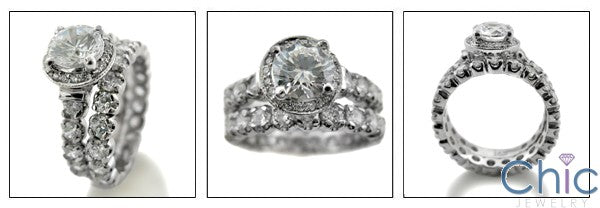 Matching Set 1 Ct Round Center Pave Halo Eternity Cubic Zirconia Cz Ring