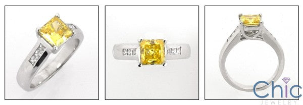 Anniversary Canary Princess Center Channel Cubic Zirconia Cz Ring