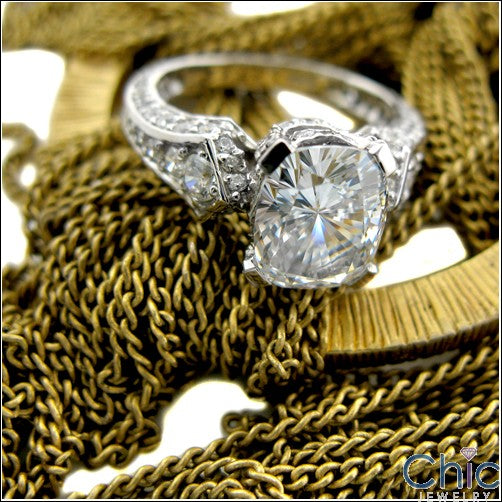 3 Ct Radiant Cushion Center Cubic Zirconia Pave Set Prongs 14K White Gold Engagement Ring