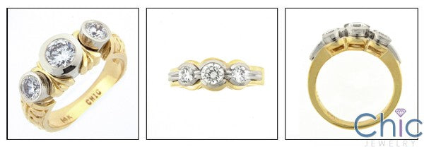 Anniversary 1 Carat Round Cubic Zirconia Bezel Two Tone Gold Engraved Ring