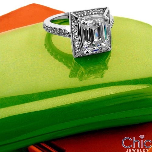 Estate 3 Ct Emerald Pave Cubic Zirconia Cz Ring