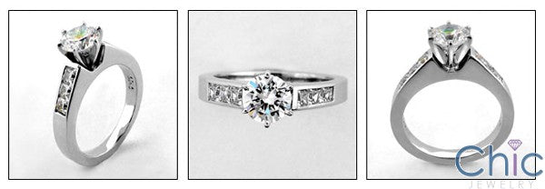 Engagement 1 Ct Round 6 Prong Tiffany Setting Princess Channel Cubic Zirconia Cz Ring