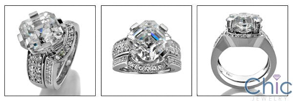 Matching Set 4 Ct Asscher Ct wedding Cubic Zirconia Cz Ring