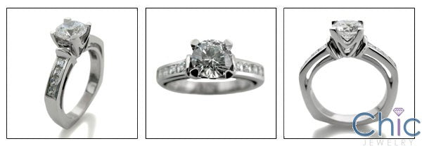 Engagement Euro Shank 1 Ct Round Center Channel Cubic Zirconia Cz Ring