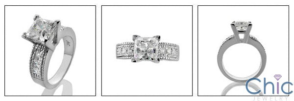 2 Carat High Quality Cubic Zirconia Princess Center Channel Sides 14K White Gold Engagement Ring