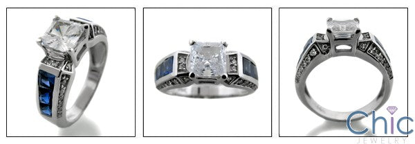 Engagement Princess 1 Ct Center Sapphire Channel Cubic Zirconia 14K White Gold Ring