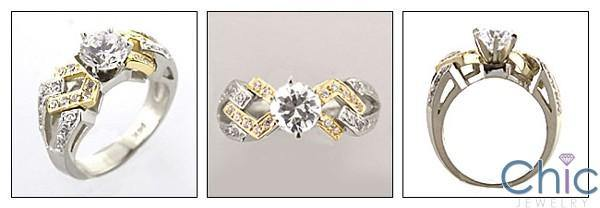 .75 Round in Two Tone Gold Pave Set Cubic Zirconia Engagement Ring