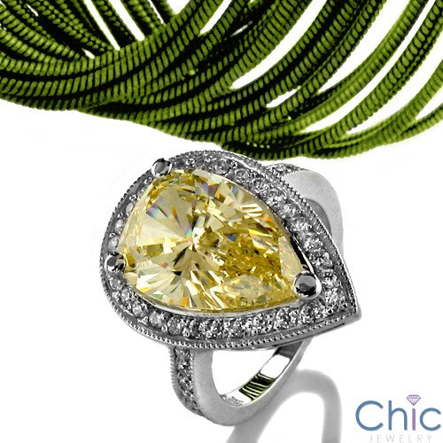 Anniversary 3.5 Pear Canary Cubic Zirconia Cz Ring