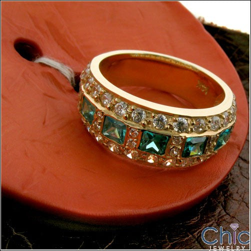 Anniversary Emerald Princess Yellow Gold Cubic Zirconia Cz Ring