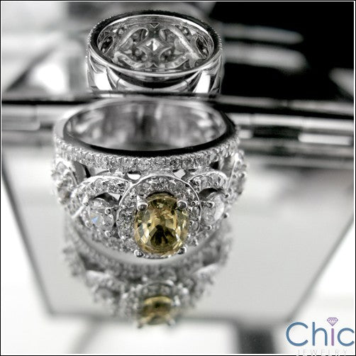 Anniversary Canary Oval 1 Ct Center Cubic Zirconia Cz Ring