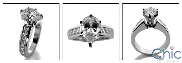 Engagement 2 Ct Pear Tiffany Prongs Cubic Zirconia Cz Ring