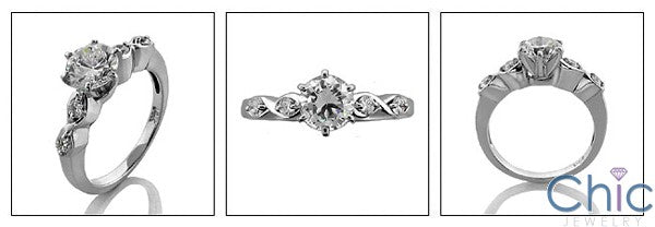 Engagement Round 1 Ct Center in Tiffany 6 Prongs Cubic Zirconia Cz Ring