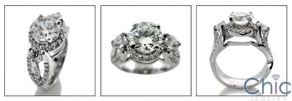 Engagement 1.75 Brilliant Center Split Pave Cubic Zirconia 14k White Gold Ring