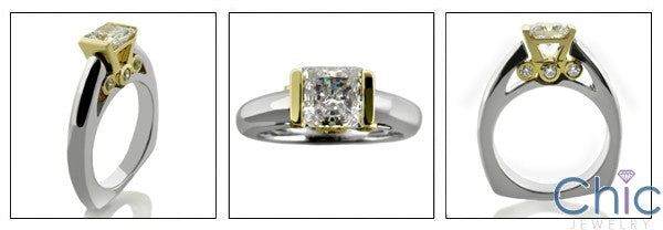 Engagement Princess .75 Center Two Tone Channel Euro Shank Cubic Zirconia Cz Ring