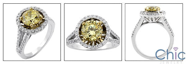 Canary 2 Ct Round Cubic Zirconia Center Yellow Gold Prongs Halo Cz Anniversary 14K Ring