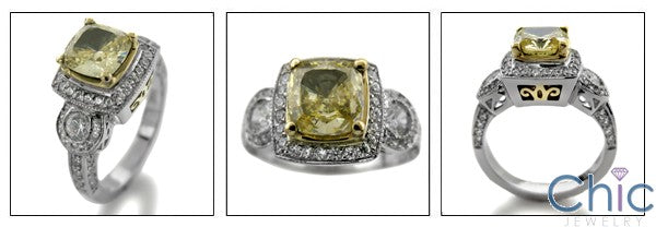 Canary Cushion 1.5 Cubic Zirconia Two Tone Gold Pave Bezel Cz Ring