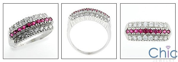 Estate Ruby Carat Diamond TCW.75 Round Cubic Zirconia Cz 14K White Ring