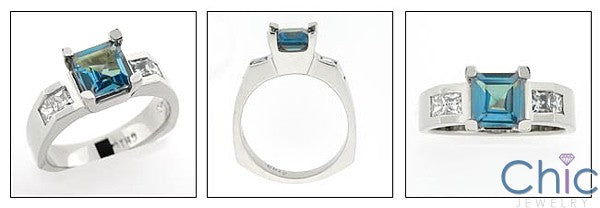 Aquamarine Square Cubic Zirconia 14K White Gold Ring