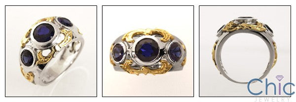 Estate 3 Bezel Set Sapphire Round Cubic Zirconia Two Tone Gold Ring