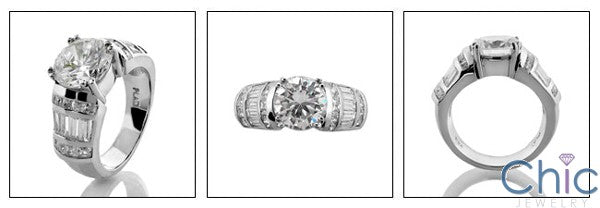 2.25 Round Center Cubic Zirconia Engagement Ring  Channel Baguettes Princess Cz 14K White Gold