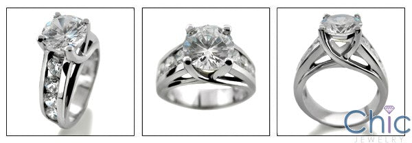 Engagement 2 Ct Round Brilliant Lucida Style Cubic Zirconia Cz Ring