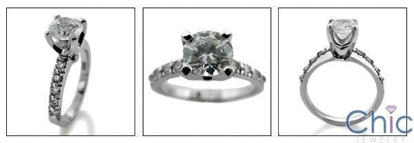 Engagement 1 Ct Round 4 Prong Center Pave Cubic Zirconia Cz Ring