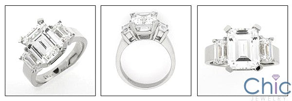 4 Carat Emerald Cut High Quality Cubic Zirconia 3 Stone Ring 14 White Gold