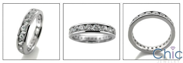 Round Cubic Zirconia 2 Carat Total Channel Eternity Band 4MM Wide 14K White Gold