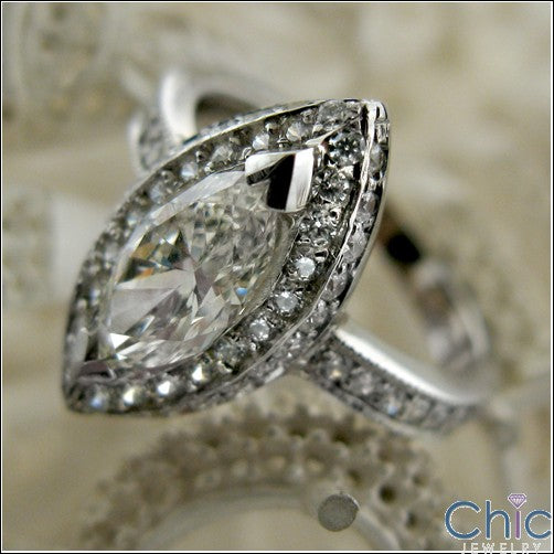 Engagement 1.5 Marquise Center Pave Cubic Zirconia Cz Ring