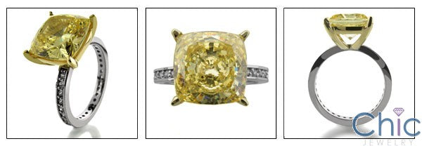 Engagement 5 Ct Canary Cushion Two tone Eternity Cubic Zirconia Cz Ring