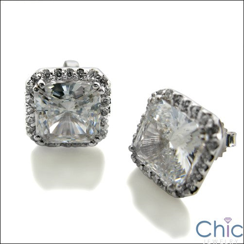 7 Ct Princess Cubic Zirconia CZ Earrings