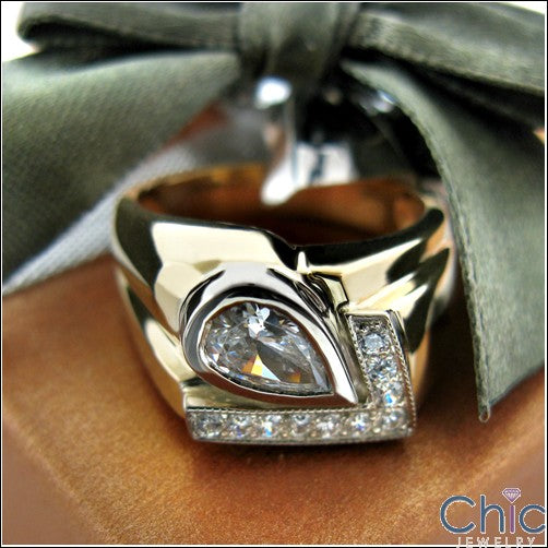 Mens 1 Ct Pear Ct Pave Two Tone Cubic Zirconia CZ Wedding Band