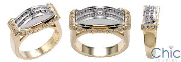 Right Hand CZ Ring Channel and Pave Set Two Tone 14K Gold Cubic Zirconia