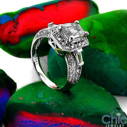 Estate Emerald 1 Ct Pave Ct Baguettes in channel Antique style Cubic Zirconia Cz Ring
