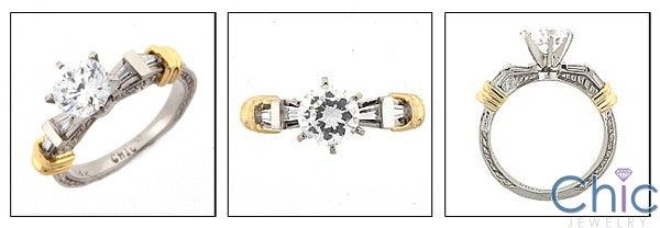 Engagement Two tone Engraved 1 Ct Round Center Cubic Zirconia Cz Ring