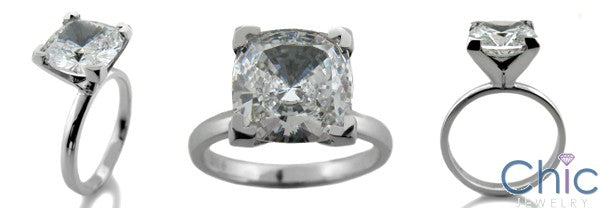 Solitaire 3 Ct Square Cushion Single Stone Cubic Zirconia Cz Ring