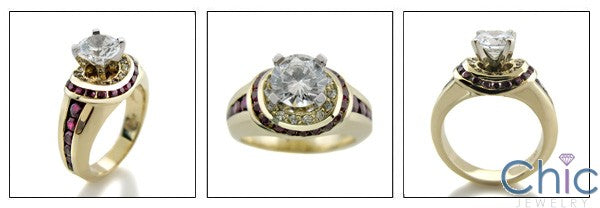 Round 1 Ct Center Ruby channeled Halo Cubic Zirconia Yellow Gold Ring