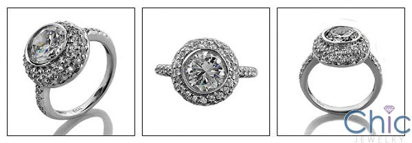 Anniversary 2.25 Brilliant Round Bezeled Center Pave Cubic Zirconia Cz Ring