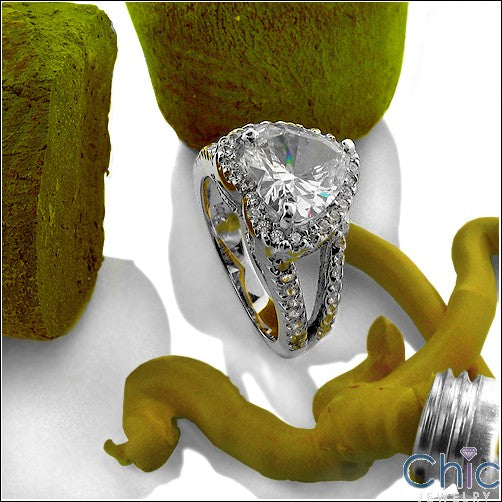 Engagement 3 Ct Heart Shape Halo Cubic Zirconia Cz Ring