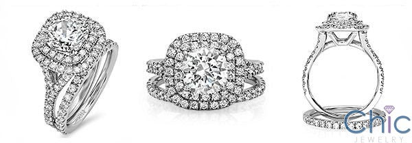 Matching Engagement Ring Set 2 Carat Cushion Pave Cubic Zirconia 14K White Gold