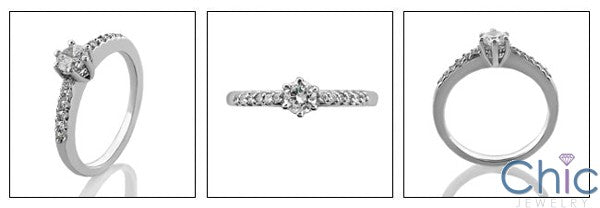 Engagement 0.30 Round Center Pave Cubic Zirconia Cz Ring
