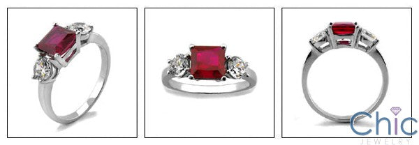 3 Stone Ruby Princess 1 .25 Ct Round Cubic Zirconia Cz Ring