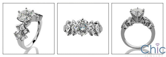 Engagement 2 Ct Round Cz Center Channel Cubic Zirconia 14K White Gold Ring