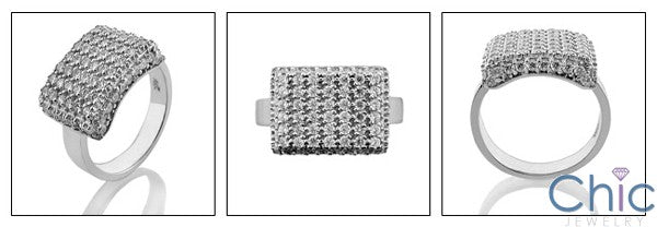 Fine Jewelry Square top pave set Cubic Zirconia Cz Ring