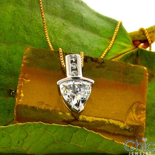 Cubic Zirconia Cz 1 Ct Triangle Channel Bail Pendant