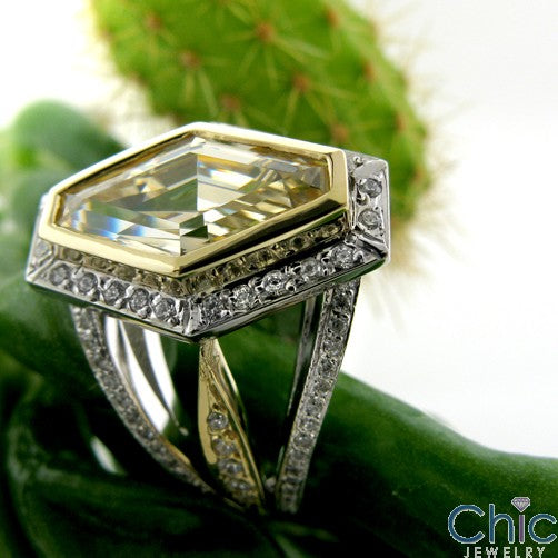 Anniversary Canary Bezel Halo Cubic Zirconia 14K Two Tone Gold Ring