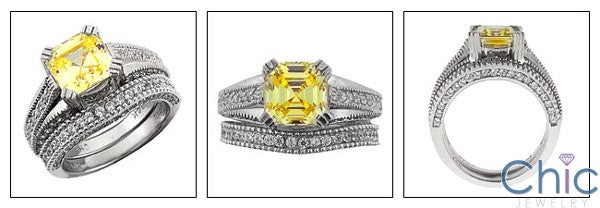 Matching Set 2.5 Canary Asscher Paves Cubic Zirconia Cz Ring