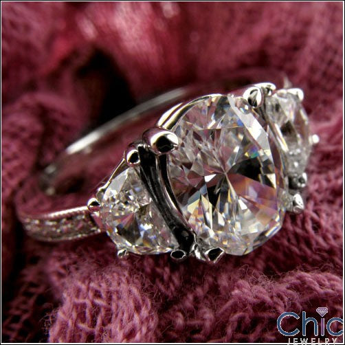 Oval and Half Moon  Cubic Zirconia Ring