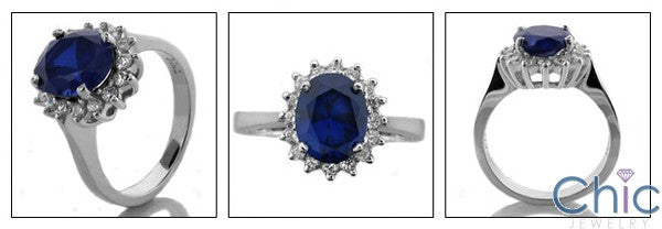 Estate 3 Ct Oval Sapphire Royal Halo Cubic Zirconia Cz Ring